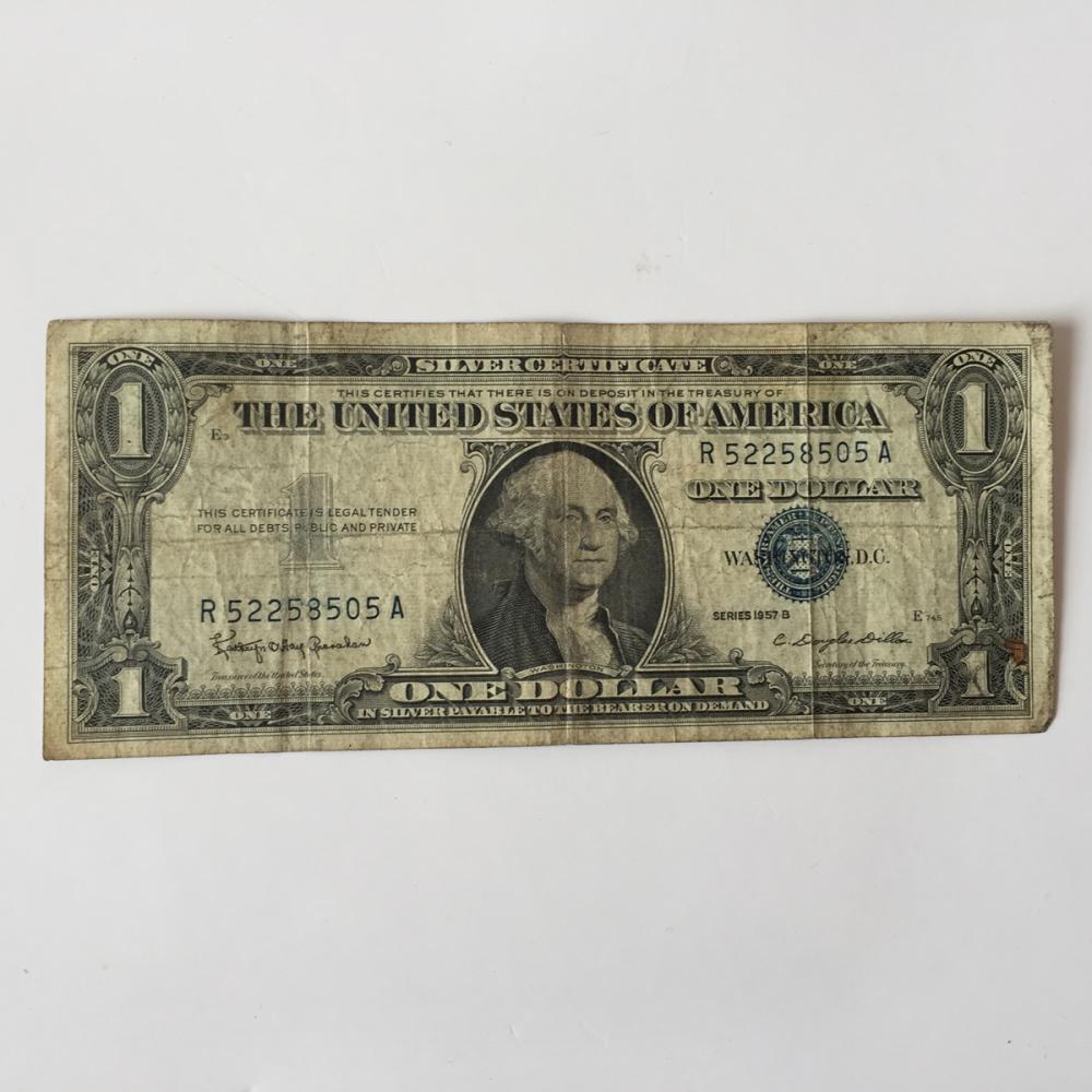 Lot 66k One Dollar Silver Certificate Blue Seal Bill Series 1957 B