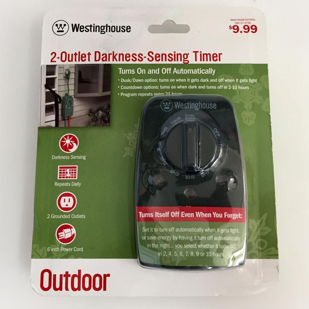"New Westinghouse 2 Outlet Darkness Sensing Timer 6/"" Power Cord Outdoor T26442"