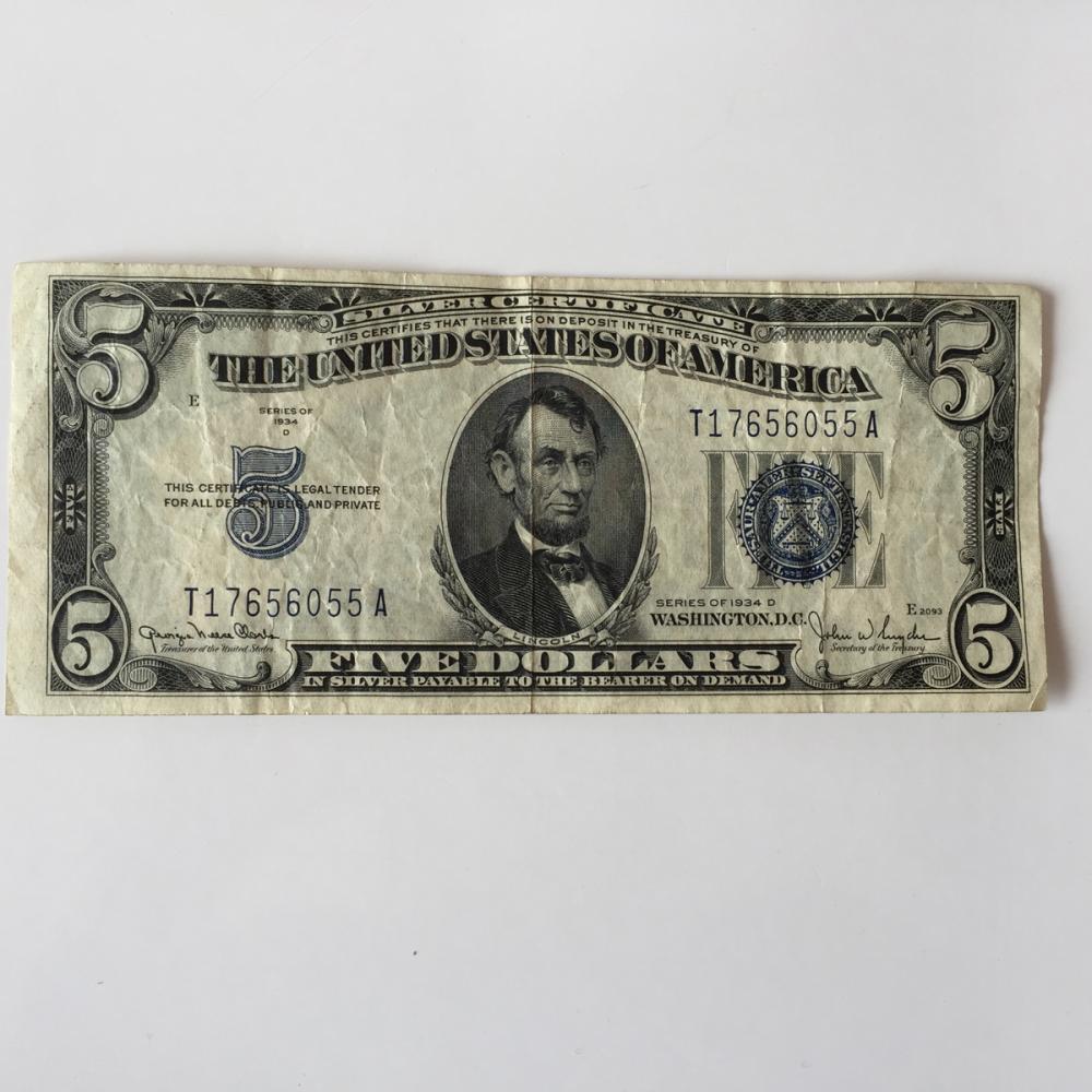Lot 73 Five Dollars Silver Certificate Blue Seal Bill Series 1934 D