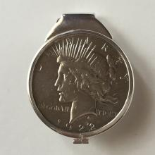 Sterling silver money clip with .999 PEACE LIBERTY DOLLAR COIN dated 1922