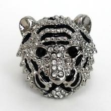 Silver tone black enamel and rhinestones adjustable stretch tiger ring