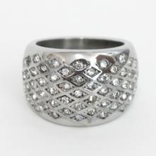 Stainless steel ring with rhinestones size 6 3/4
