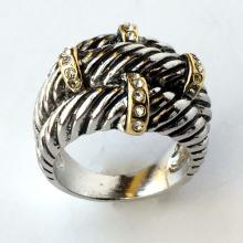 Silver tone twisted wire design and gold plated bars with rhinestones ring