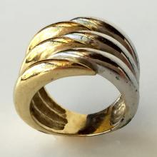 Two tone heavy wide ring