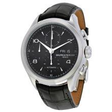 Baume & Mercier Chronograph Black Dial Black Leather Mens Watch MOA10211