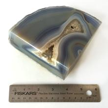Blue Lace Agate 1530 grams specimen pock crystal polished from 3 sides