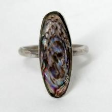 Vintage sterling silver ring with black mother of pearl ABALONE cabochon, size 7