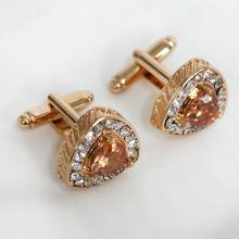 Gold plated triangle shape white crystals and yellow citrine color CZ cufflinks