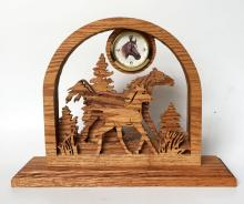 Vintage solid oak carved running horses mother and baby though woods flat figurines clock