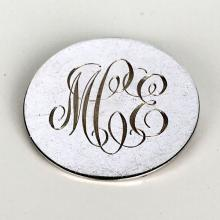 Round shape flat sterling silver brooch pin with engraved initials MCE