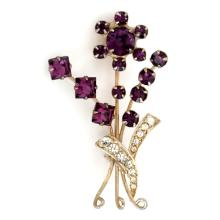Gold plated brooch pin with prongs set amethyst color rhinestones