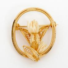 Gold plated filigree oval shape pin brooch with carved bone color acrylic flowers