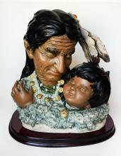 Vintage bust of 2 native american heads statue/figurine on wood plate