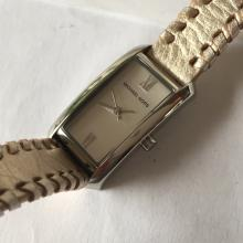 Michael Kors stainless steel rectangular watch MK-2071 with leather strap with Michael Kors buckle