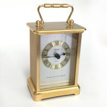 Gold tone rectangular shape table clock BULOVA Quartz, Westminster & Whittington with handle on top