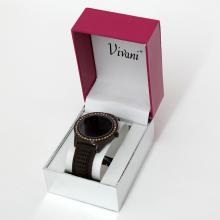 Brown color stainless steel with rhinestones bezel watch VIVANI, Quartz with matching rubber band in original box