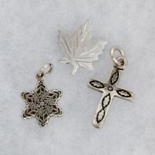 Lot of sterling silver 3 small pin brooches pendants