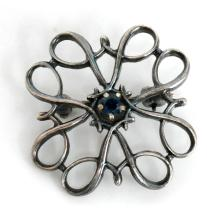Sterling silver brooch AWARD pin with small 4 prongs set round faceted black diamond in the center