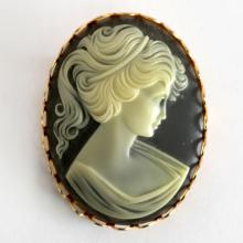 Gold plated light Grayish-brown / White oval CAMEO pin brooch