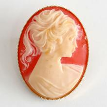 Gold plated light Orange / White oval CAMEO pin brooch
