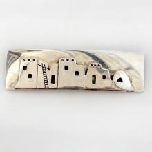 Vintage rectangular shape sterling silver brooch pin with line of homes