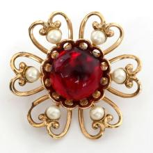 Gold plated round brooch pin with round ruby color rhinestone in the center and white faux pearls around