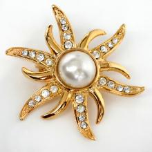 Gold plated SUN shape pin brooch with white rhinestones and round MOP in the center