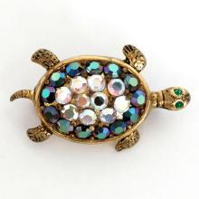 Vintage gold plated pin brooch in shape of TURTLE with multi color rhinestones, signed Made in Western Germany