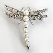 Silver tone DRAGONFLY shape pin brooch with white rhinestones and faux pearls, signed NARIER