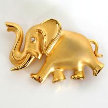 Gold plated satin and shiny finish ELEPHANT shape pin brooch with white rhinestone eye