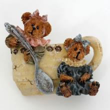 Polystone carved TWO BEARS AND CUP shape pin brooch, signed Boyds bear and friends