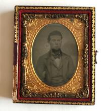 Antique circa 1850-1860 Ambrotype 1/9th (glass positive with black backing) picture of GENTLEMEN in photo case embellished with foil