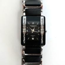 Genuine black ceramic diamond dial rectangular watch AKRIBOS XXIV crystal bezel matching bracelet