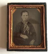 Antique circa 1850-1860 Ambrotype 1/9th (glass positive with black backing) picture of LADY in photo case embellished with foil