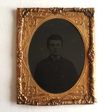 Antique circa 1850-1860 Ambrotype 1/9th (glass positive with black backing) picture of YOUNG GENTLEMEN with no photo case, picture embellished with foil