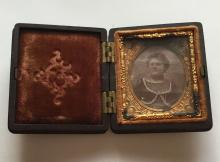 19th century antique photo of lady in box with cover embellished with foli, the smalest size photo.