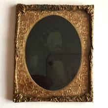 Antique circa 1850-1860 Ambrotype 1/9th (glass positive with black backing) picture of GENTLEMEN WITH BEARD with no photo case, picture embellished with foil