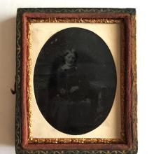 Antique circa 1850-1860 Ambrotype 1/9th (glass positive with black backing) picture of LADY IN GFANCY DRESSin photo case embellished with foil
