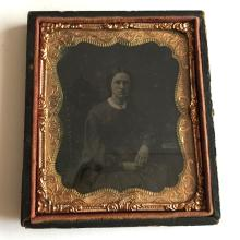 Antique circa 1850-1860 Ambrotype 1/6th (glass positive with black backing) picture of LADY in photo case embellished with foil