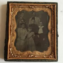 Antique circa 1850-1860 Ambrotype 1/6th (glass positive with black backing) picture of FAMILY in photo case embellished with foil