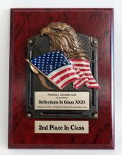 America's Corvette Club trophies custom award wooden color plate with eagle head and American flag -