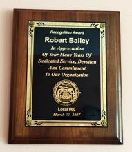 Recognition AWARD given to Robert Bailey - wooden brick with gold color plate