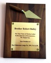 Thank You AWARD given to Robert Bailey - wooden brick with gold color plate