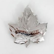 Sterling silver satin and shiny finish LEAF shape diamond cut rhodium plated brooch pin, signed NIAGARA FALLS