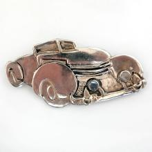 Vintage sterling silver FUNNY CAR with cat eye moonstone cabochons on front