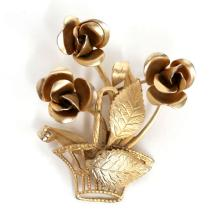 Gold plated textured and shiny finish 3 ROSES IN BASKET shaped brooch