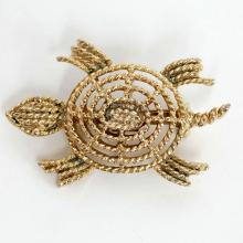 Gold plated textured TURTLE shaped pin brooch, signed MAMSELLE