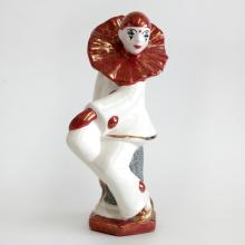 Vintage porcelain SITTING PIERROT statuette figurine