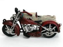 Vintage Iron cast Motorcycle with moving wheels