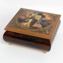 Wooden music box with 4 gold plated legs lacquered